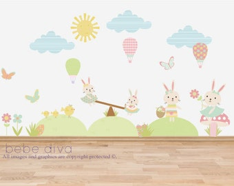 Spring Time Wall Decals, Wall Stickers, Nursery Decor, Kids Wall Decal, Wall Decal Nursery, Nursery Wall Decal, REMOVABLE REUSABLE