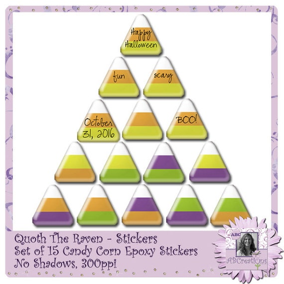 Quoth The Raven, Candy Corn Epoxy Stickers, Halloween, Digital Scrapbooking