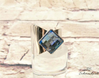 Ring Crystal square of asymmetric aquamarine extravagant statement crystals can be customized gift girlfriend mother's day Valentine's day