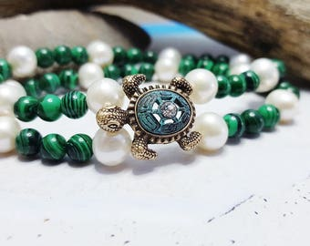 Double Strand Malachite & Freshwater Pearl Bracelet ~ Sea Turtle Bracelet ~  Summer Jewelry Trends ~ Unique Gift For Girlfriend, Mom, Sis