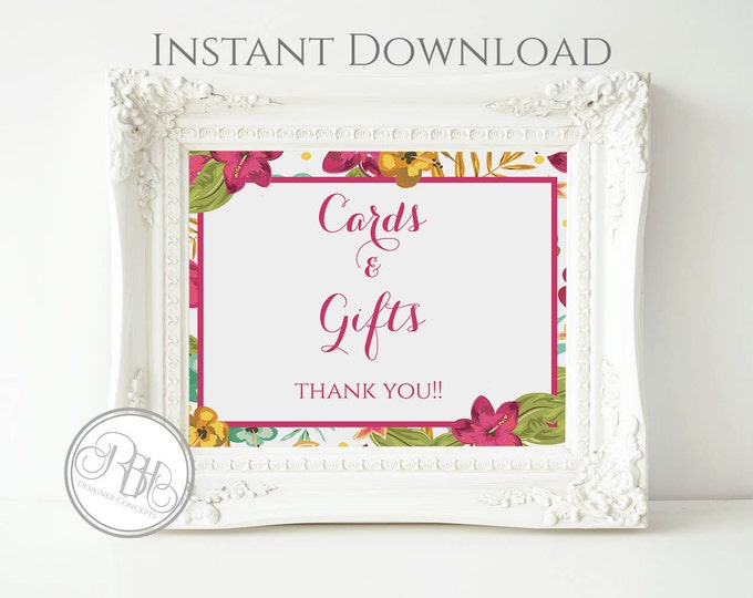 Tropical Wedding Cards & Gifts Sign Template - INSTANT DOWNLOAD-DIY Text Editable-Tropical Island Wedding Cards Gifts Sign-Matilda