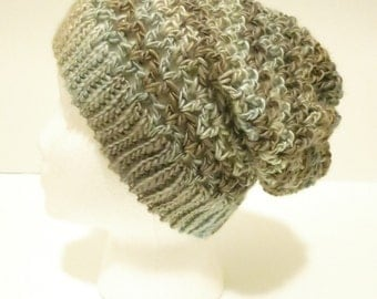 Crochet Soft Slouchy Hat in Blue and Gray