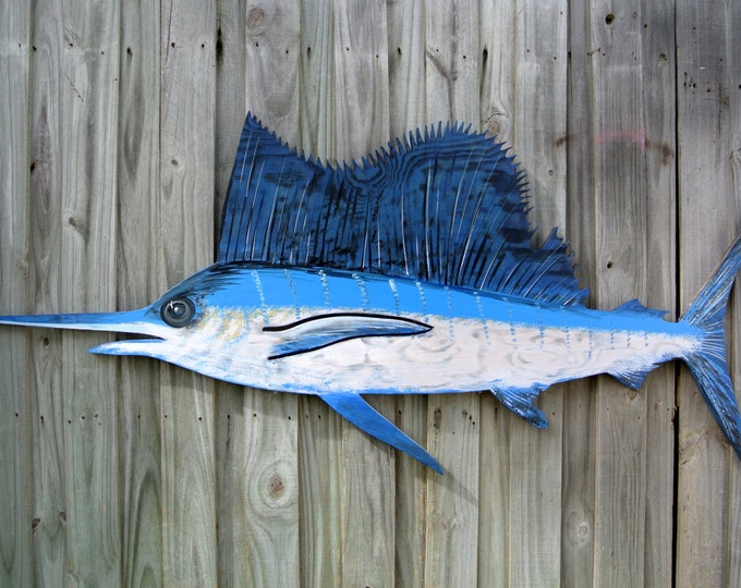 Large Sailfish Blue Marlin Wooden decor. Blue Marlin wood fish wall art. Fisherman Gift for him