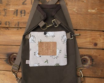 Brown 4 ways to wear it multiform canvas bag with detachable part that gives the opportunity to wear it in 4 different ways,vegan bag