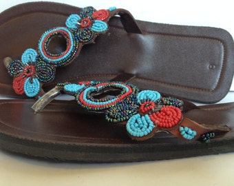 Hand Made Leather Sandals - Beaded Strap 18