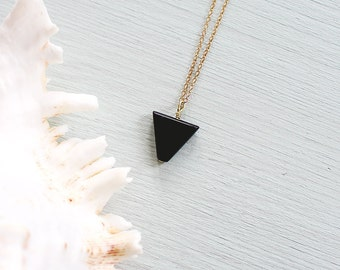 Black Jasper Triangle Necklace - Black Jasper Necklace - Blackstone Triangle Necklace - Black Triangle Necklace - Blackstone Necklace
