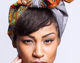 Grey Dashiki Print head wrap   Wax Angelina print Head wrap   Ankara Print headscarf   African wax print material