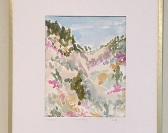 End of summer, New Mexico - Original Framed Watercolor Artwork by Louise Dean