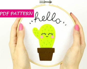 Cactus PDF embroidery pattern, hoop tutorial, felt decoration, instant download, step by step photos, funny home decor, perfect gift