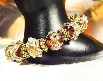 CZECH BEAD BRACELET, lavender beads, lavender with silver, Czech bracelet, Czech jewelry, stretch bracelet, stretch jewelry, bracelet - 1467