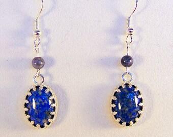 SODALITE EARRINGS, sodalite jewelry, blue sodalite, silver bezel, gemstone earrings, gemstone jewelry, blue earrings, blue jewelry - 1785G