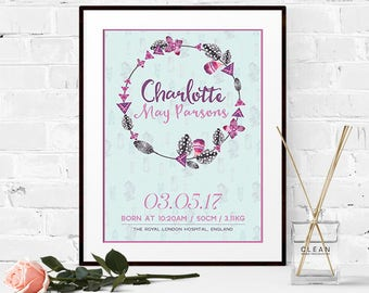 Personalised Baby's Birth Announcement Poster (Digital File)