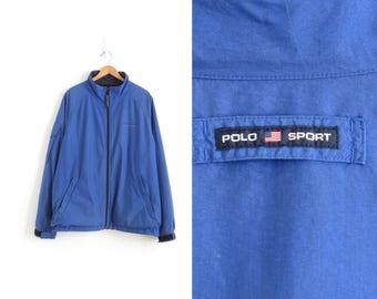 Polo Sport Jacket 90s Hip Hop Clothing Ralph Lauren Polo Sport Windbreaker Blue Windbreaker Vintage Windbreaker Mens XL, Womens Plus Size 2X