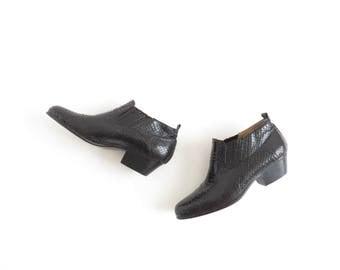Western Ankle Boot Leather Mens Snakeskin Shoe Western Booties Black Cowboy Boot Size Mens US 8.5, EU 41.5, Uk 8, Womens US 10.5, Uk 8.5
