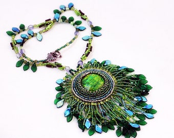 Embroidered necklace pendant, Beadwork jewelry, beaded pendant, summer necklace for woman, OOAK