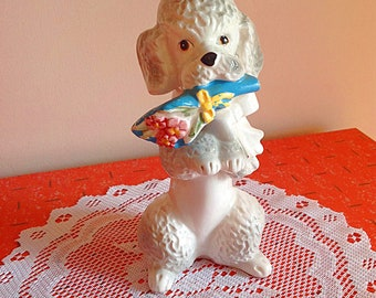 Vintage ceramic romantic poodle