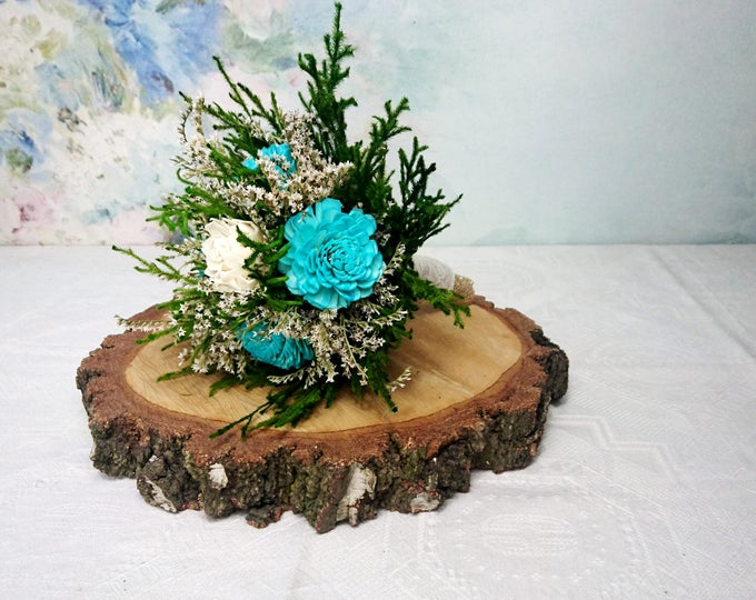 Small ivory turquoise aqua green blue rustic wedding BOUQUET, Sola Flowers, preserved cypress, Burlap Lace, Bridesmaids, toss, cheap bouquet