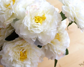 Ivory, Pink and Yellow Peony Bouquet – silk flower – artificial flower – flower headpiece – wedding décor – wedding bouquet (FB60-1)