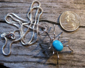 HUGE creepy SPIDER PENDANT, signed Navajo sterling silver & turquoise, amazing work.