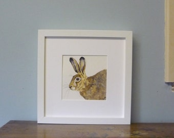 Original Framed Hare Watercolour, Hare painting, Hare Watercolour, Hare Illustration, British Wildlife Painting