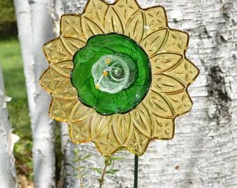 Birthday, Flower Gift, Yellow Green Flower, Home Decor, Garden Art &WeldedStem, Home Decor Sculpture, Glass Art Gift, Flower Home Decor Gift