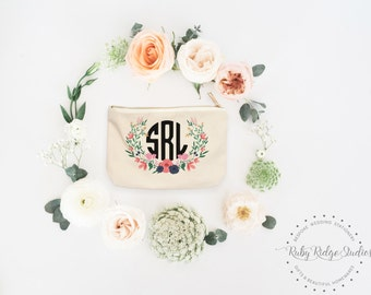 Personalized Makeup Bag | Personalized Pouch | Bridesmaid Gift | Garden Floral | Personalized Zipper Pouch | Cosmetic Bag | Bride Makeup