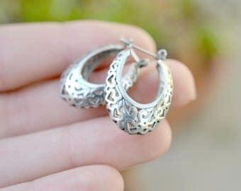 Sterling Silver Filigree Heart Hoop Earrings, Heart Hoop Earrings, Sterling Silver Heart Earrings, Heart Jewerly, Filigree Hoop Earrings