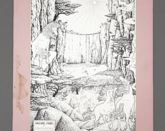 1970s Unicorn Trail by the Dragon Mistress G. S. Cleveland Lithograph Print Black & White Art