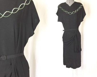 Medium/large ** 1940s SEQUIN black rayon crepe belted dress ** vintage forties black dress