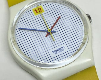 Vintage Swatch Watch Dotted Swiss GW104 1985 Blue Dots White Yellow