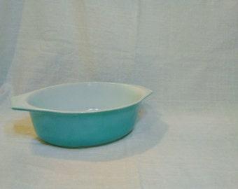 Vintage Pyrex #043 Turquoise Aqua Oval Baking Dish Casserole Bowl - Mid-Century Kitchen Dining Dishes Decor - 1 1/2 1.5 Qt 1950s 1960s