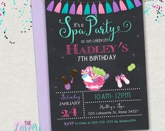 Spa Party Invitation Printable, Spa Birthday Invitation, Spa Chalkboard Invitation, Spa invitate girls party