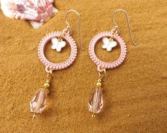 Steampunk earrings, pretty steampunk earrings, pink steampunk, pretty steampunk jewellery, pink earrings, fun earrings