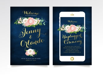 Welcome & Unplugged Sign - 2 Large Printed Signs or PDF . Gold Calligraphy Navy Chalkboard Rose Pink Peony Garland Ranunculus Dusty Miller