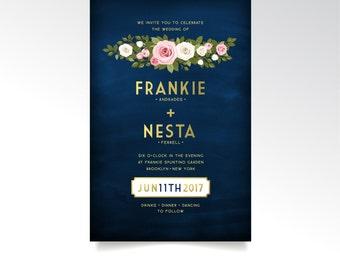 The FRANKIE . Invitation Set Printed Wedding Cards . Gold & Navy Chalkboard White Blush Pink Rose Green Garland . RSVP Postcard Details Card
