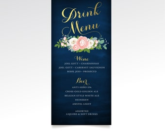 The JENNY . Drink Menu Bar Cocktail Wedding Sign. Print or PDF. Gold Calligraphy & Navy Chalkboard White Rose Blush Pink Peony Dusty Miller