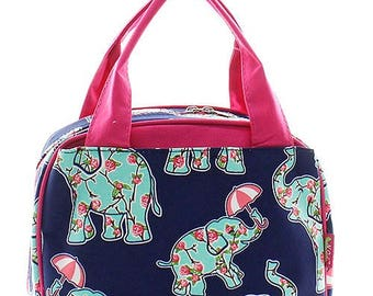 Preppy Elephant Print Monogrammed Lunch Box Hot Pink Trim
