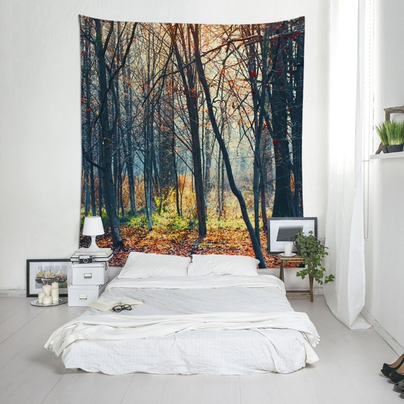 Tree Tapestries, Forest Wall Art, Large Wall Decor, Tree Tapestry, Autumn Wall Art, Dorm Decoration, Nature Tapestry