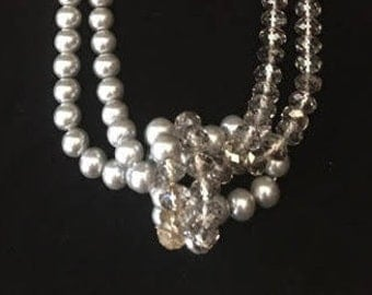 vintage beaded pearl and ribbon necklace