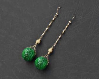 Carved Jade Gold Earrings, gold filled earrings, jade statement earring, unique jade earring, super long earring, designer modern jewelry