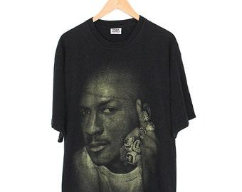 Vintage Michael Jordan T-shirt - 90s Chicago Bulls Micheal Jordan Champion Ring T-shirt - 90s Oversized Print Michael Jordan Rap T-shirt