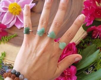 Jade ring, jade, green jade crystal ring, adjustable rings