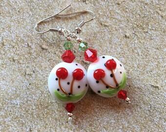 Beaded Dangle Earrings, Beaded Earrings, Lampwork Cherry Earrings, SRA Lampwork Earrings, Earrings, Glass Earrings, Statement Earrings