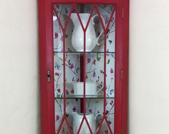 Red Cabinet, Corner Cupboard, Corner Cabinet, Wall Cabinet, Bow Fronted Cabinet, Glass Cabinet, Painted Cabinet, Painted Cupboard