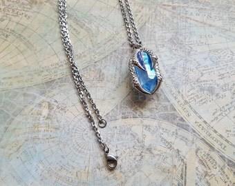 Unique Necklace, OOAK Jewelry, Small Baby Blue Aqua Aura Quartz Necklace, Dainty Blue Crystal, Stainless Steel Necklace, Crystal Quartz
