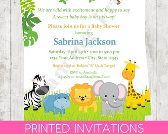 "Custom Printed 4.25X5.5"" Wild Animals, Jungle, Safari, Boy, Girl, or Gender Neutral Baby Shower Invitations, envelopes included"