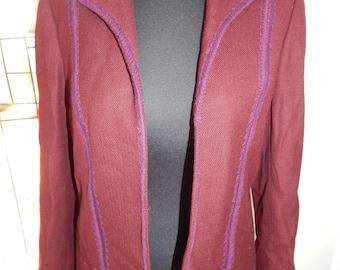 Jean Louis Couture for Sara Fredericks Plum Purple Wool Blazer Jacket Vintage Designer Jacket