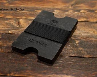 Black Wood Wallet Laser Cut Minimalist Groomsmen Gift Best Man Groom