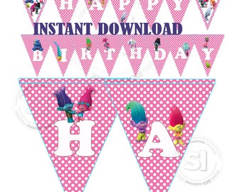 Instant Download-Printable Trolls Happy Birthday Banner-Pink White Polka Dots Triangle Banner-Trolls Party Garland-Happy Birthday Banner-DIY