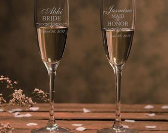 Bridesmaid Champagne glasses, Bridesmaid gifts, Maid of Honor gifts, Matron of Honor Gifts, Mother of the Bride Gift, Mother of the Bride